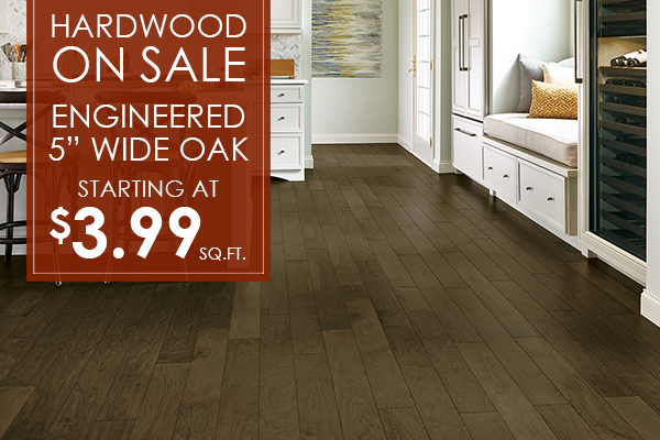 "5"" Engineered, Wide Oak Hardwood on sale for only $3.99 Sq. Ft.! Don't miss out on these amazing offers and more like it at Port City Flooring in Portland, Maine!"